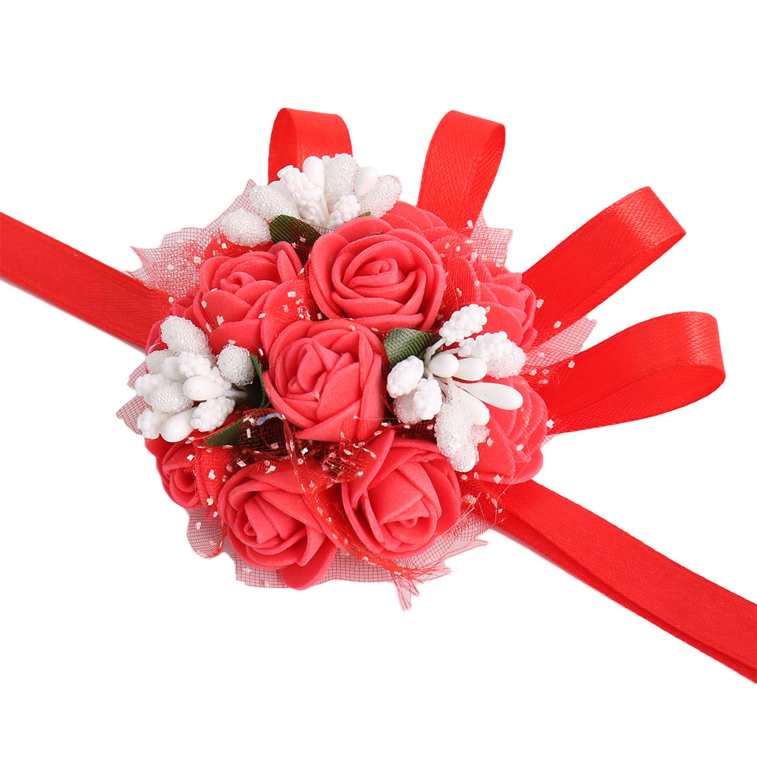 Wedding Party Foam Bridesmaid Dancer Hand Corsage Decor Artificial Wrist Flower Red