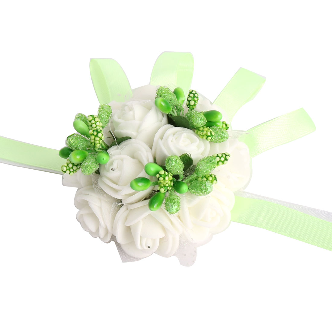 Wedding Prom Party Foam Girl Bridesmaid Hand Decoration Wrist Flower Light Green