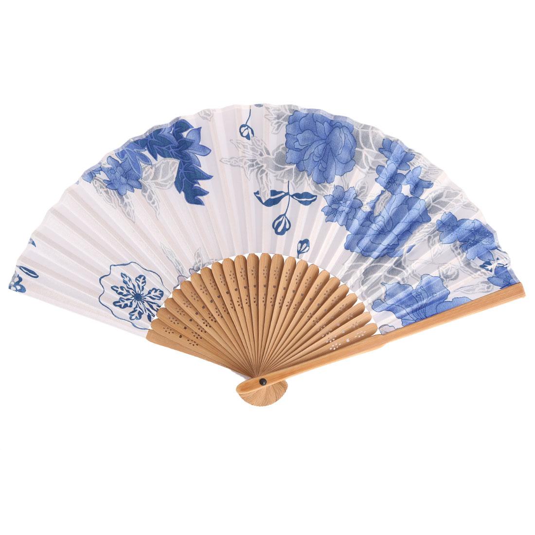 Lady Bamboo Fiber Frame Flower Pattern Elegant Dance Party Folding Hand Fan