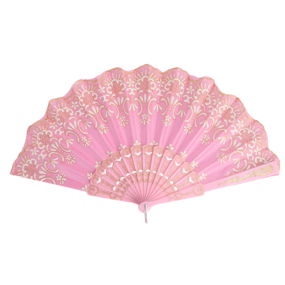 Lady Plastic Frame Floral Pattern Elegant Hand-crafted Folding Hand Fan