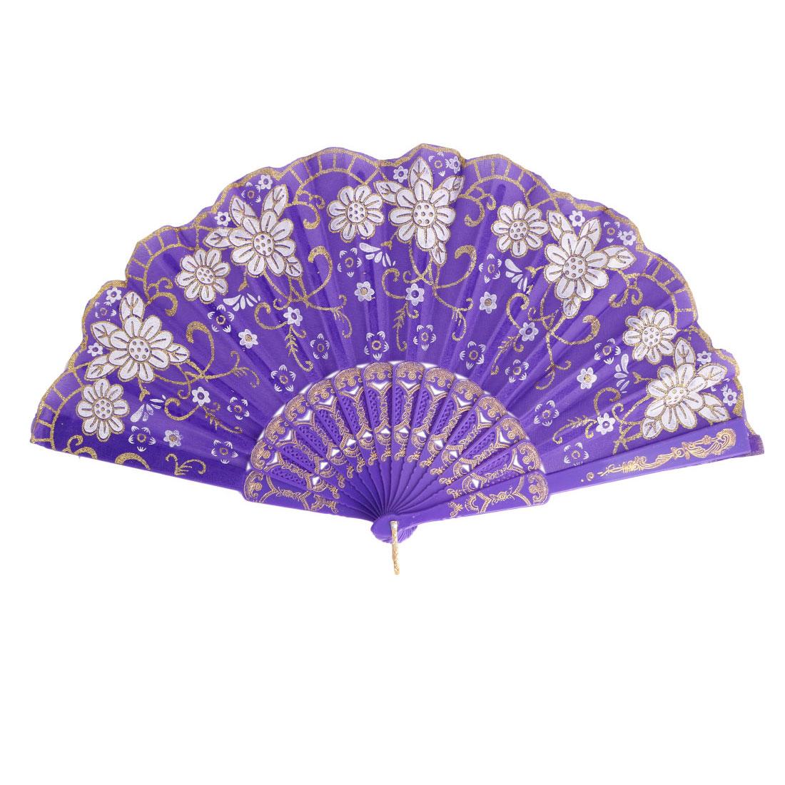 Lady Plastic Frame Floral Pattern Elegant Dance Hand-crafted Folding Hand Fan