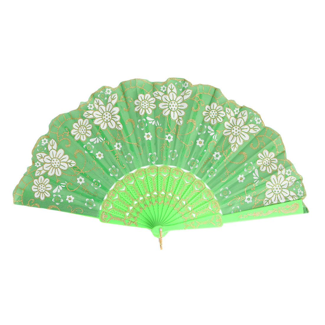 Women Hollow Out Frame Vintage Style Hand-crafted Decor Shining Folding Hand Fan