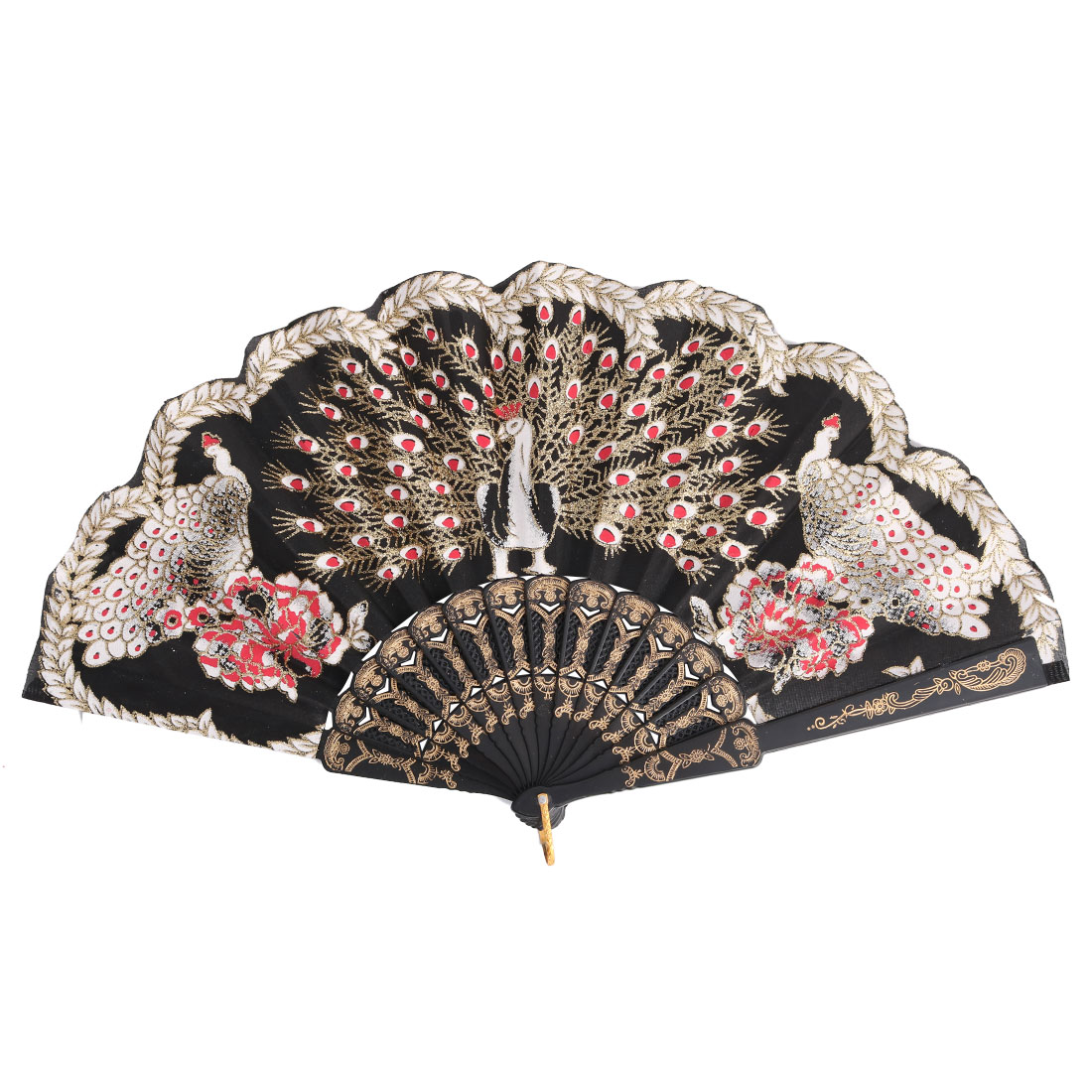 Peacock Pattern Chinese Retro Style Shining Dance Folding Hand Fan Multicolor