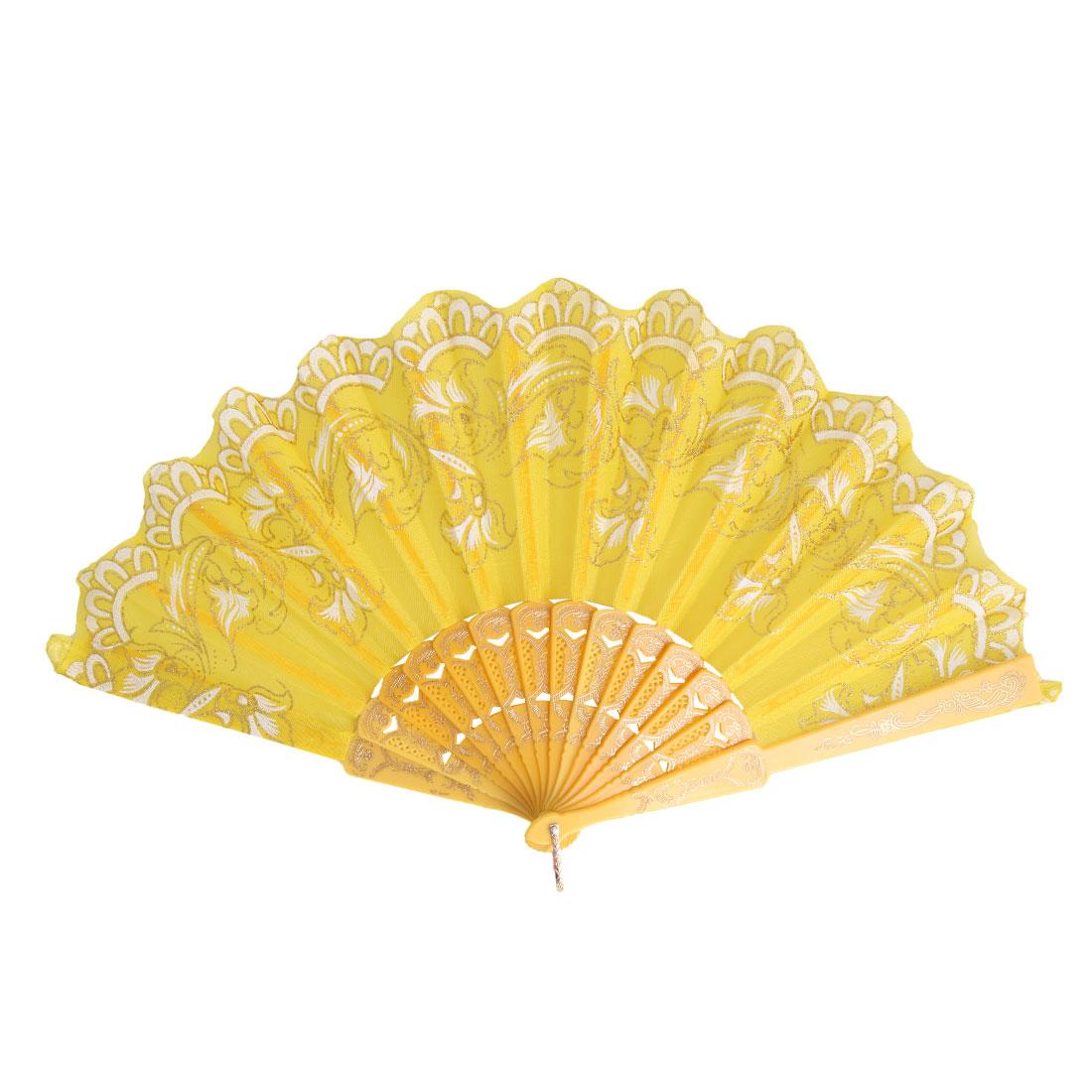 Lady Petals Shape Phoenix Pattern Elegant Embroidered Folding Hand Fan