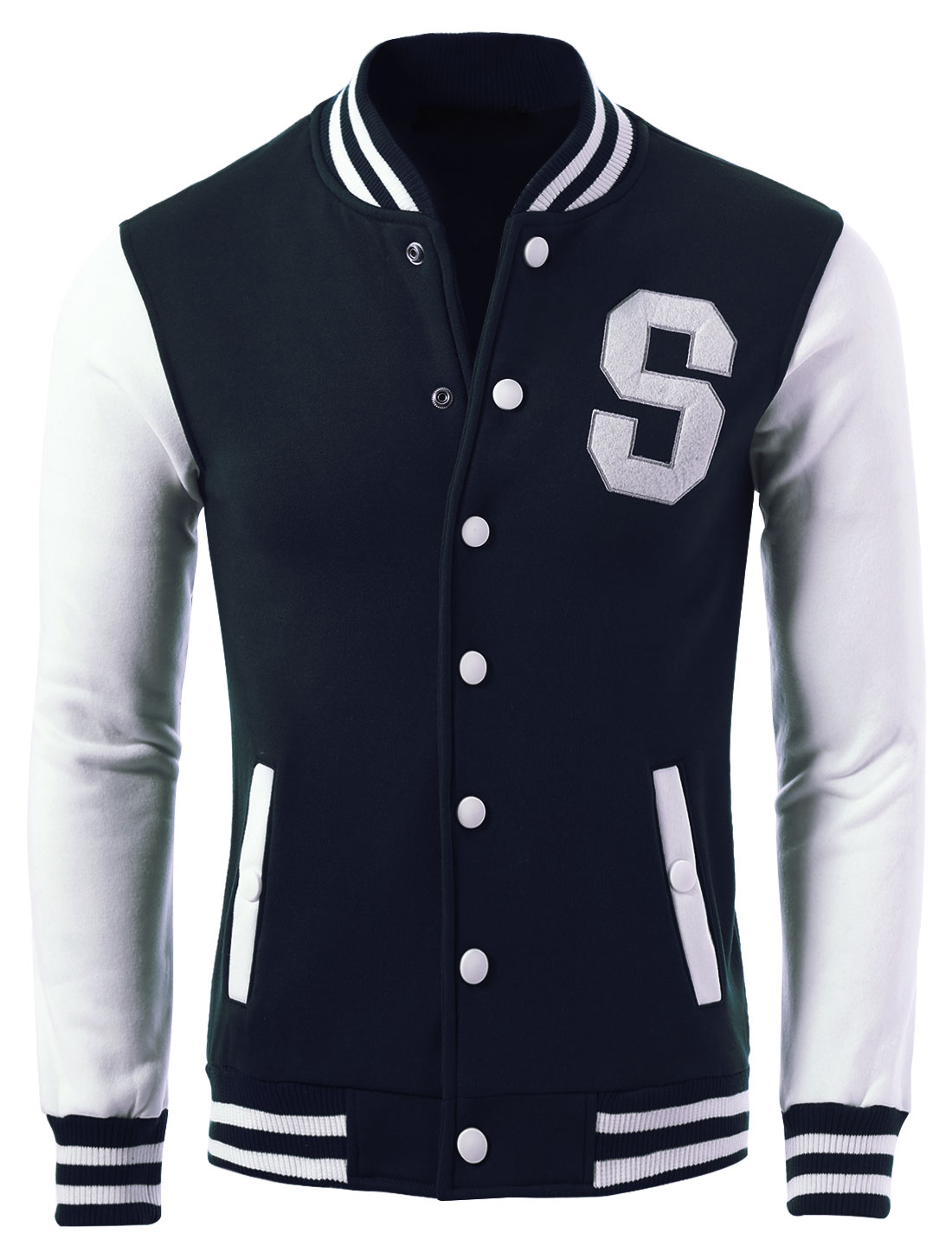Men Letter Pattern Snap Buttons Casual Baseball Jacket Navy Blue S