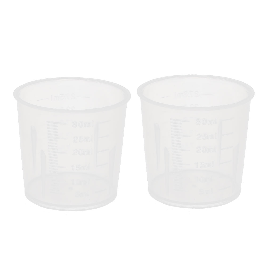 30mL Laboratory Spout Container Measuring Cup Beaker Clear 2pcs