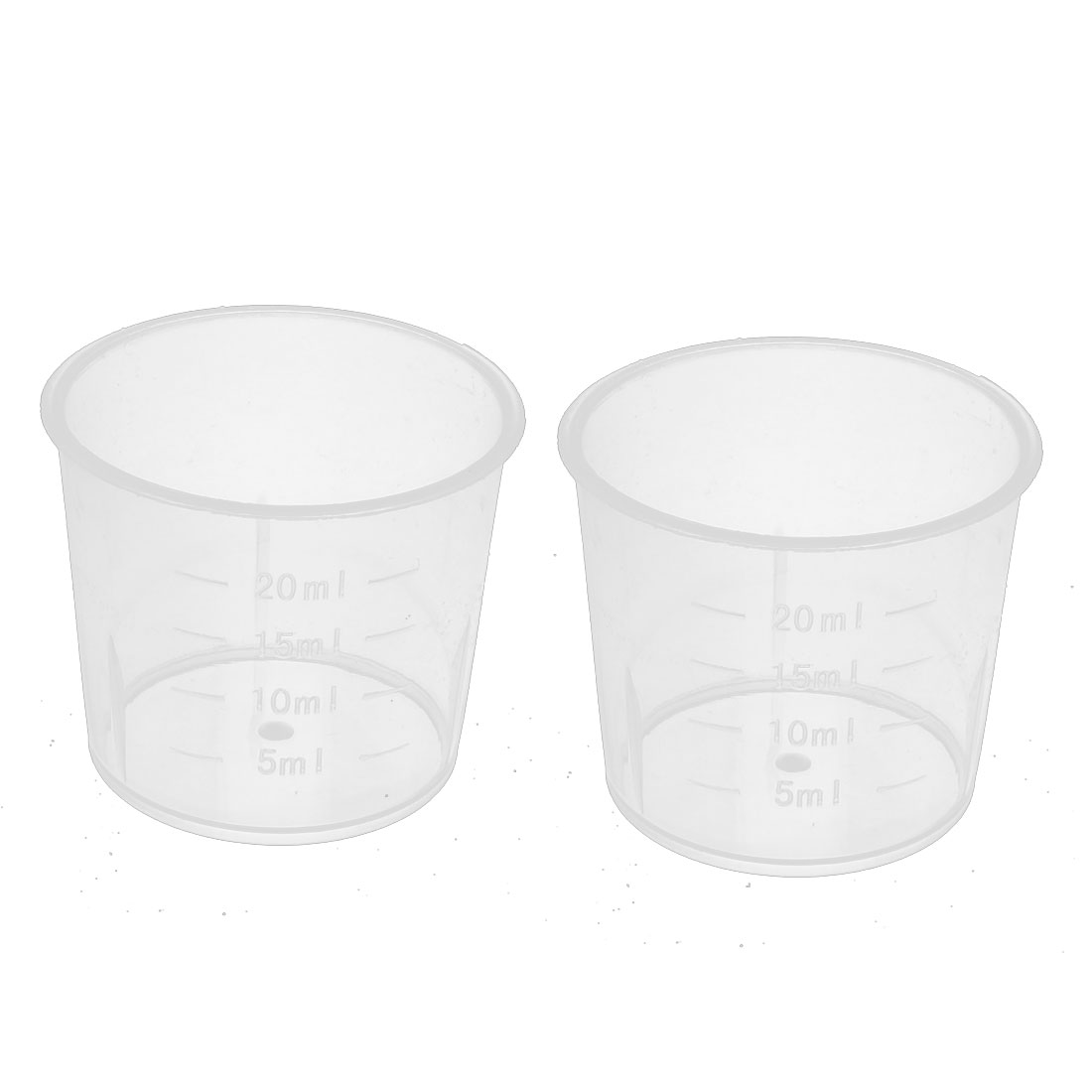 2pcs 20ml Capacity Kitchen Laboratory PP Cylindrical Measuring Cup Clear