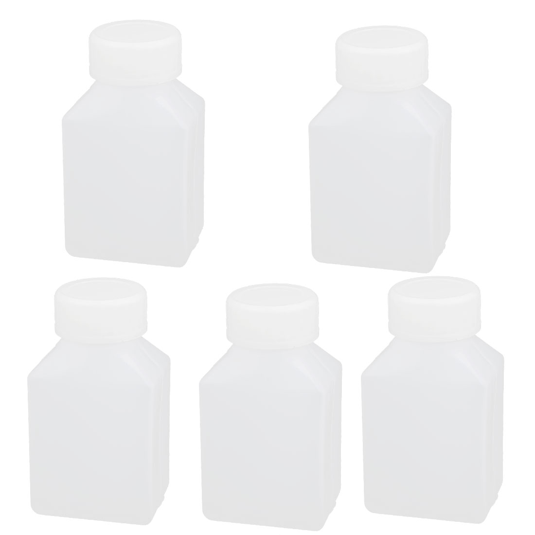 50ml 20mm Dia Mouth HDPE Plastic Oblong Laboratory Bottle Container White 5pcs