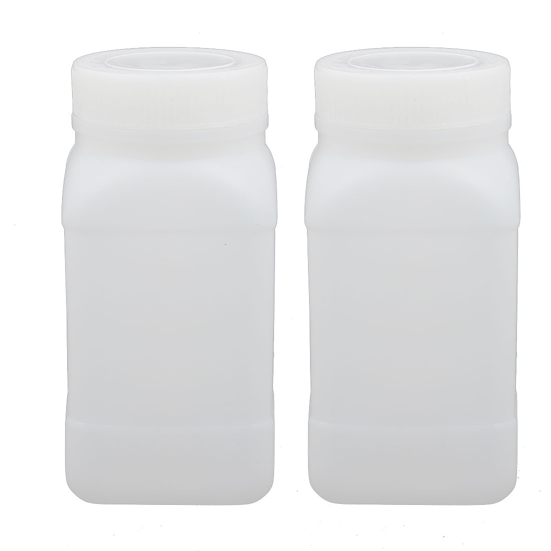 2pcs 250ml HDPE Plastic Container Wide Mouth Bottle White w Thicker Cover