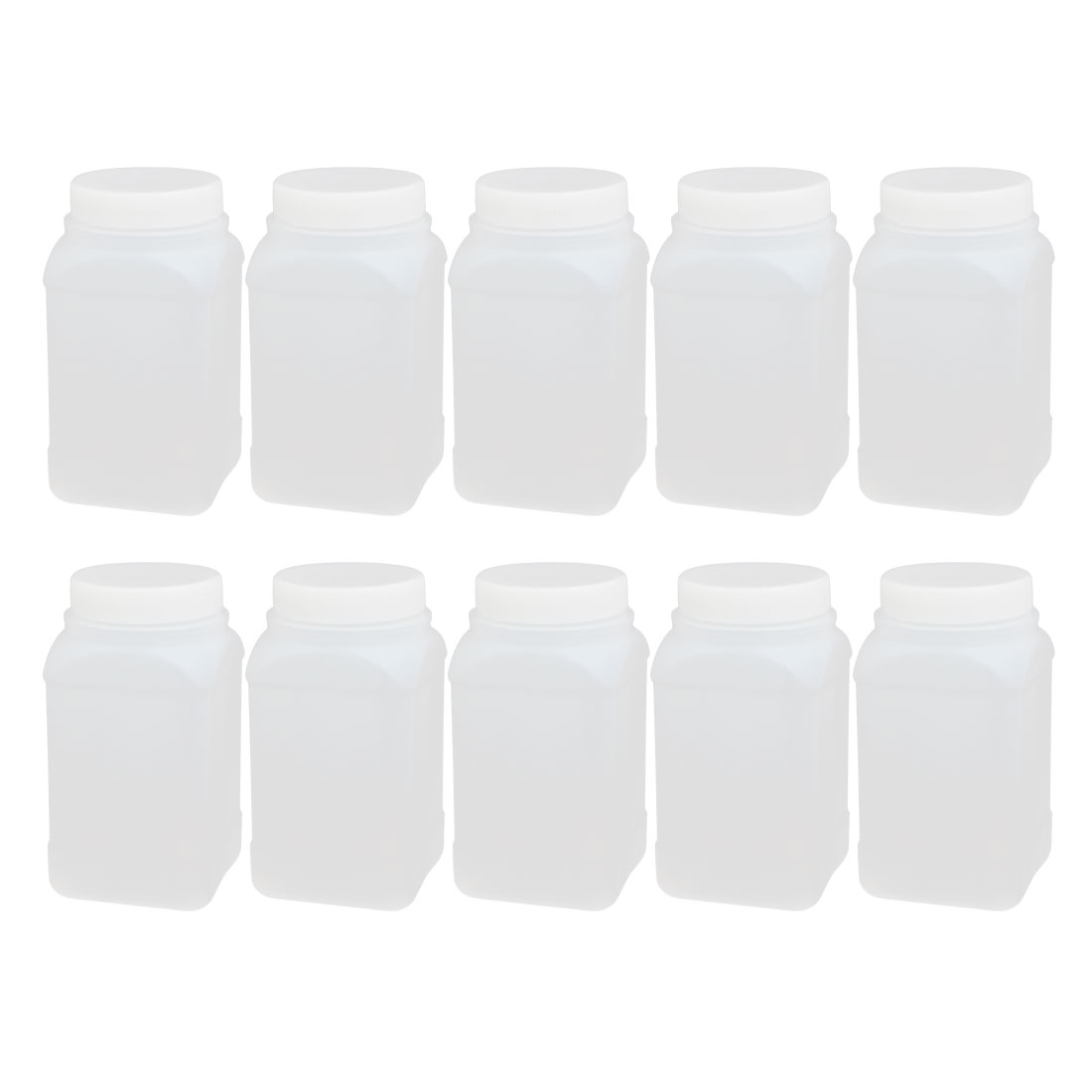 10pcs 500ml Plastic Square Wide Mouth Chemical Sample Reagent Bottle Thickening