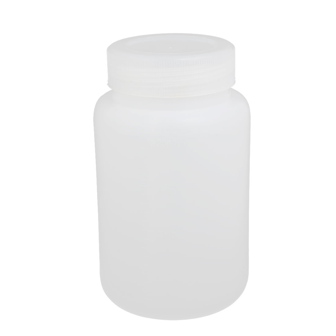 2000ml 75mm Dia Wide Mouth HDPE Plastic Round Graduated Bottle White
