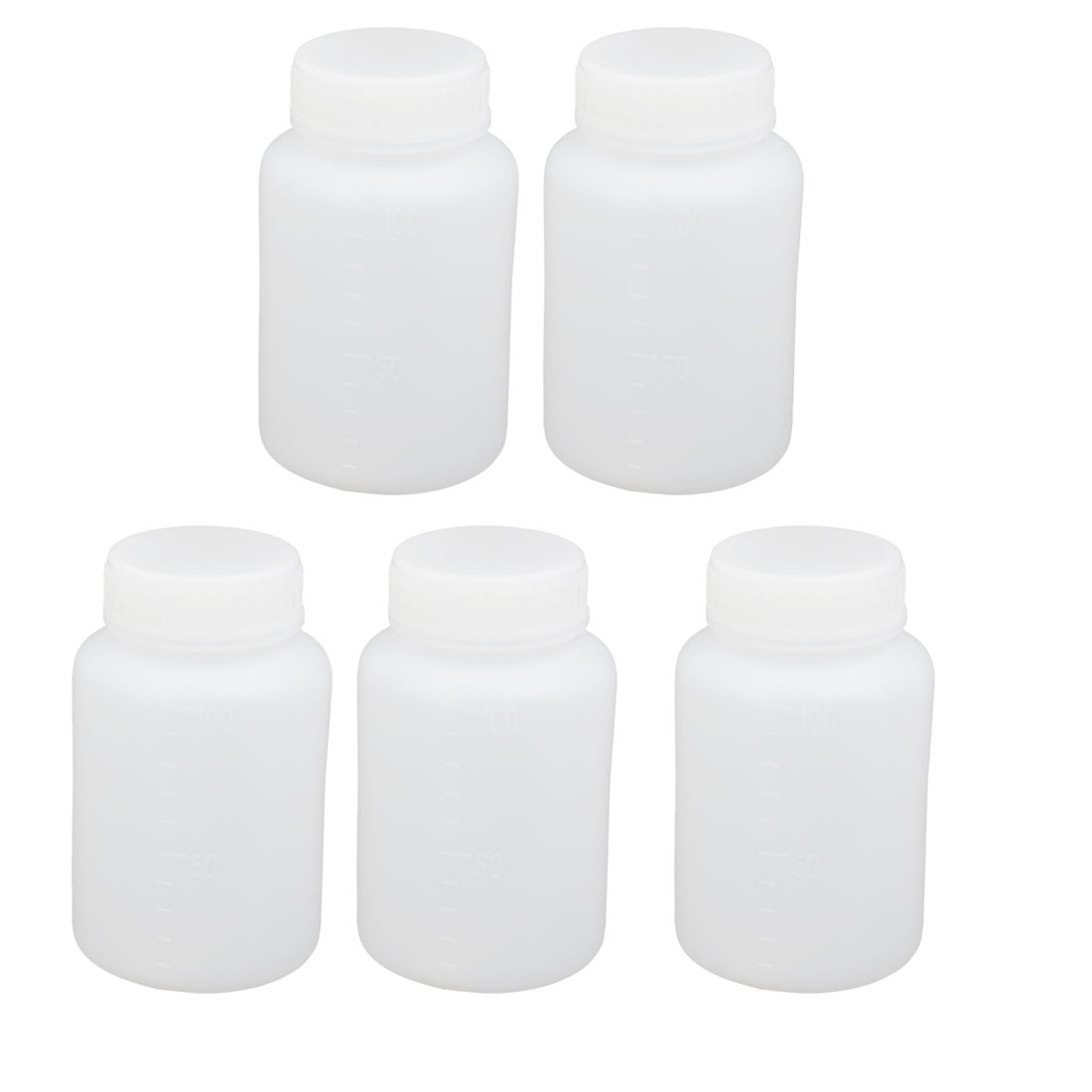 100ml PE Plastic Round Shaped Graduated Laboratory Experiment Bottle White 5pcs