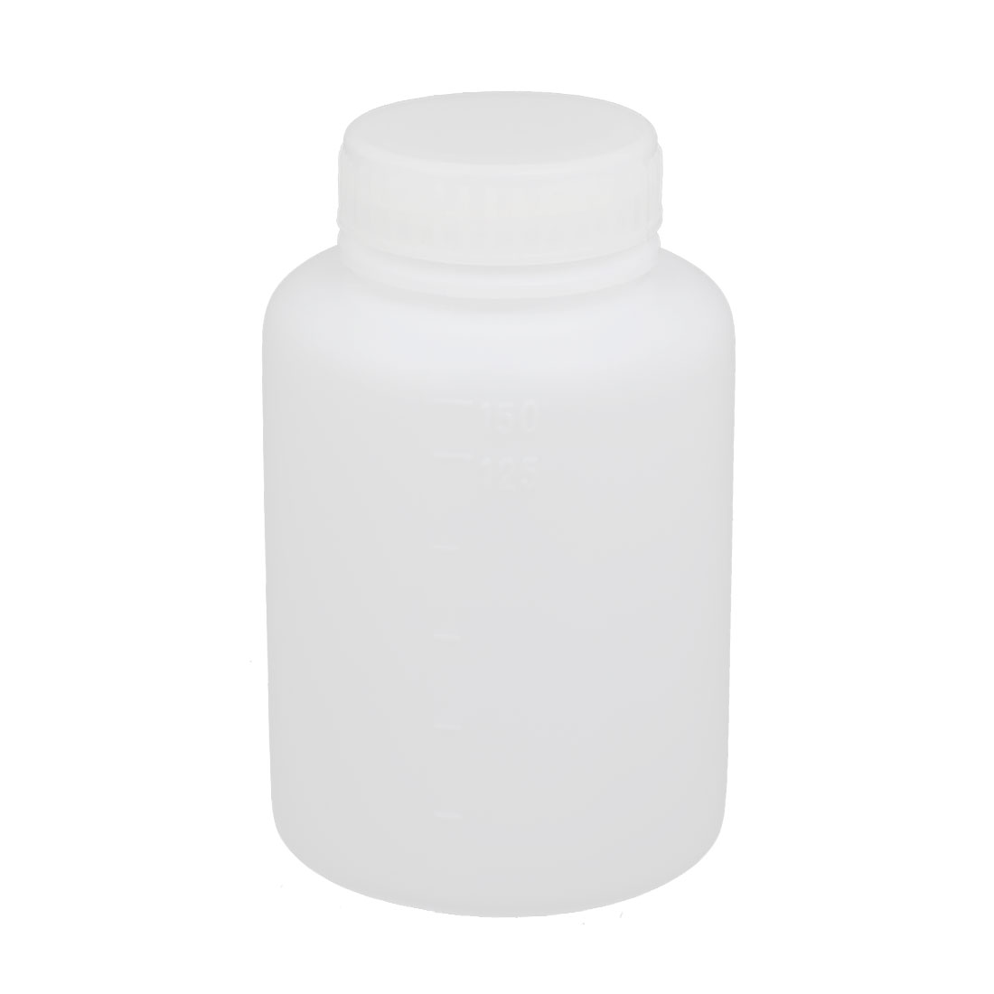 150ml 28mm Diameter Wide Mouth HDPE Plastic Round Graduated Bottle White