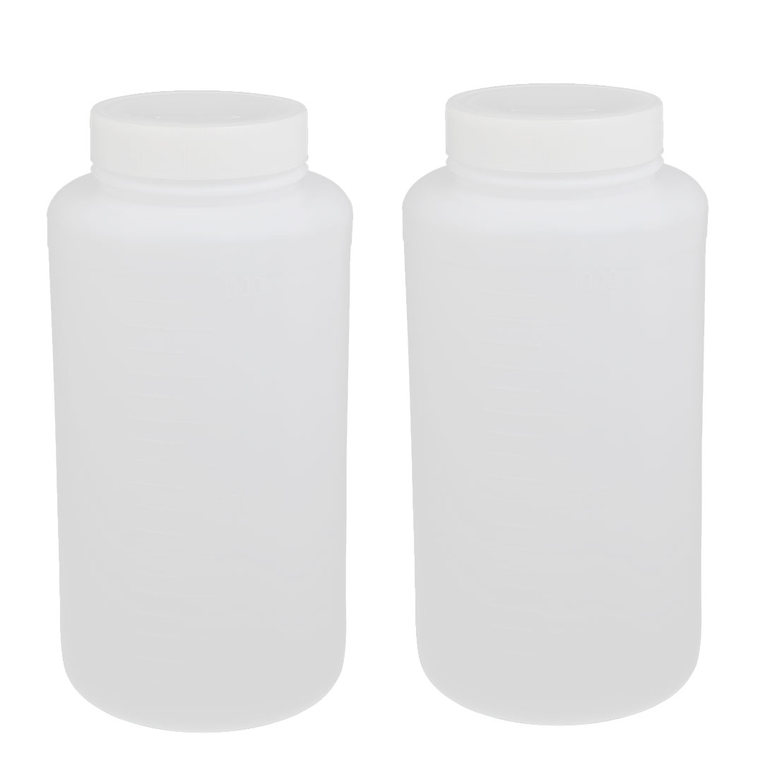 55mm Dia 190mm Height 1000ml HDPE Plastic Round Wide Mouth Bottle White 2pcs