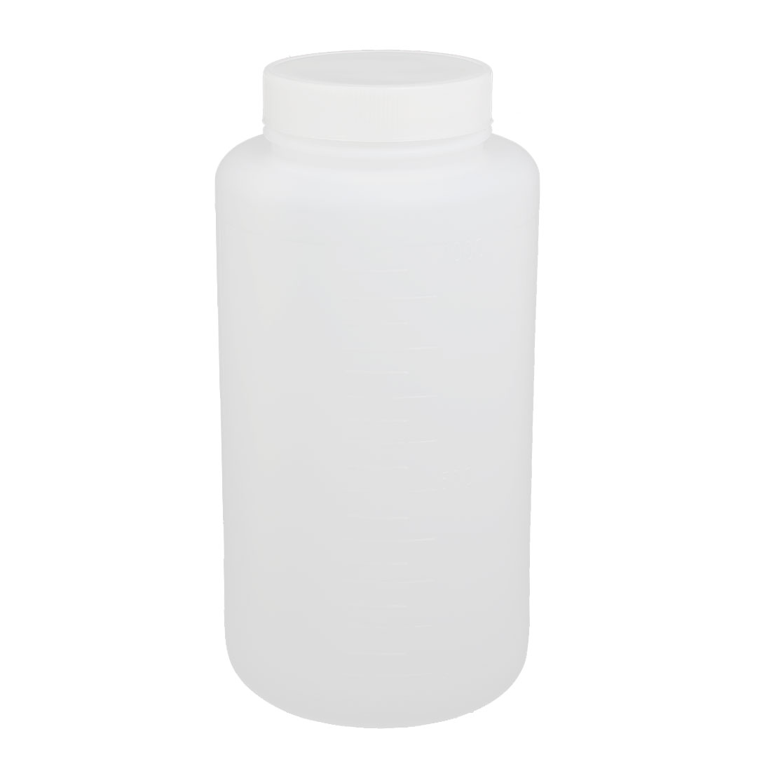 1000ml 55mm Dia Wide Mouth HDPE Plastic Round Graduated Bottle White