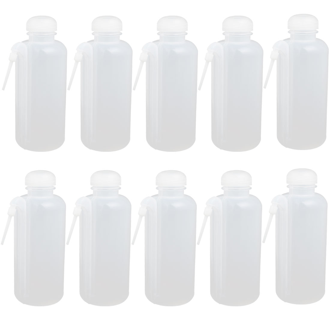 10pcs 500ml Clear White Cylindrical Spray Squeeze Washing Bottle Dispenser