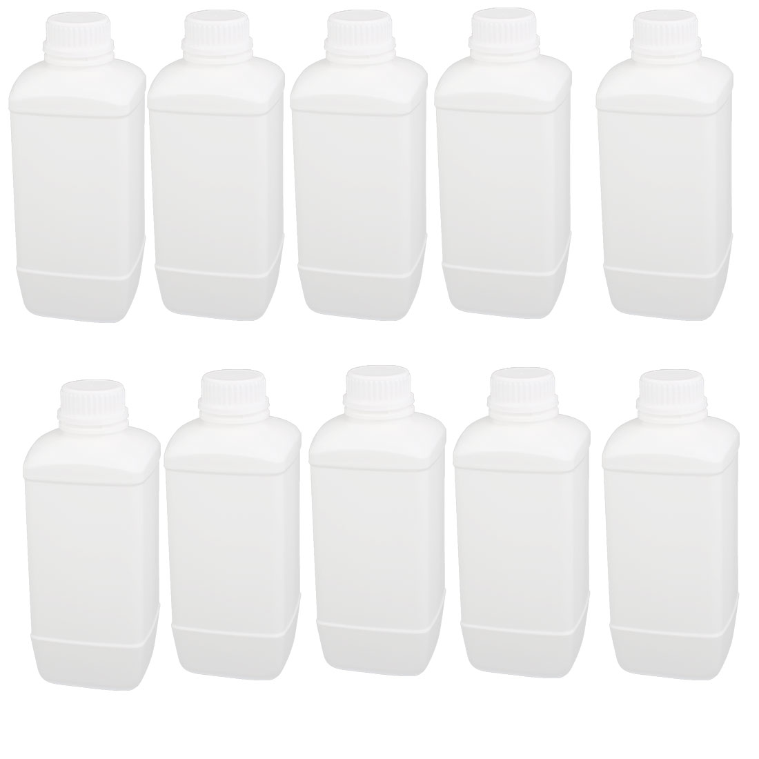1000ml 28mm Dia Mouth HDPE Plastic Oblong Shaped Graduated Bottle White 10pcs