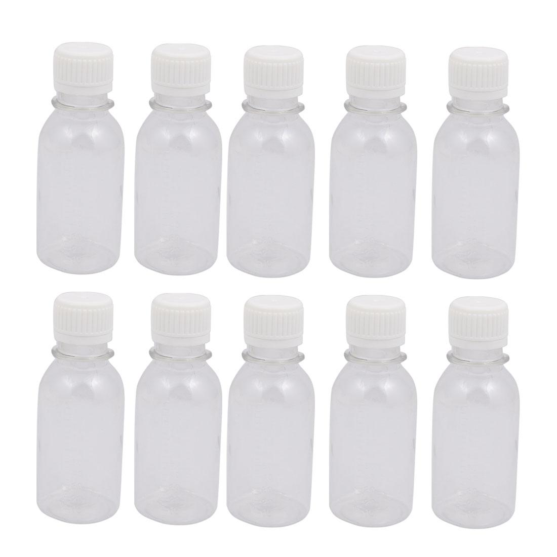 10Pcs 100ml Plastic Bottle Transparent DIY Round Bottle w White Cover