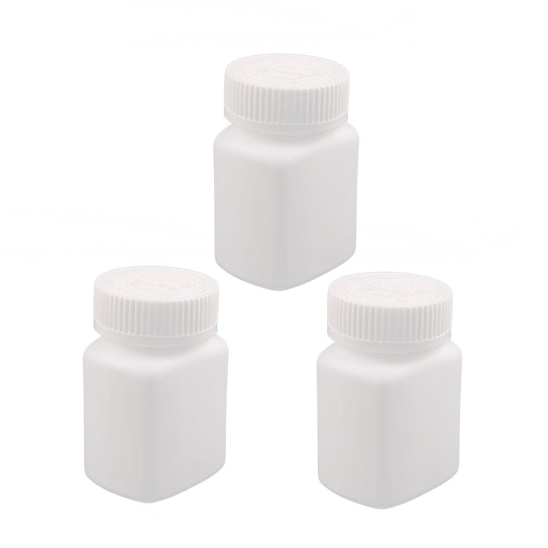 5Pcs 90ml Plastic Bottle Healthy Product Square Bottle White Lid