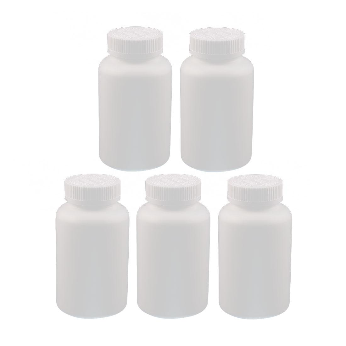 5pcs 300ml High-grade Plastic Bottle Healthy Product Round Bottle White