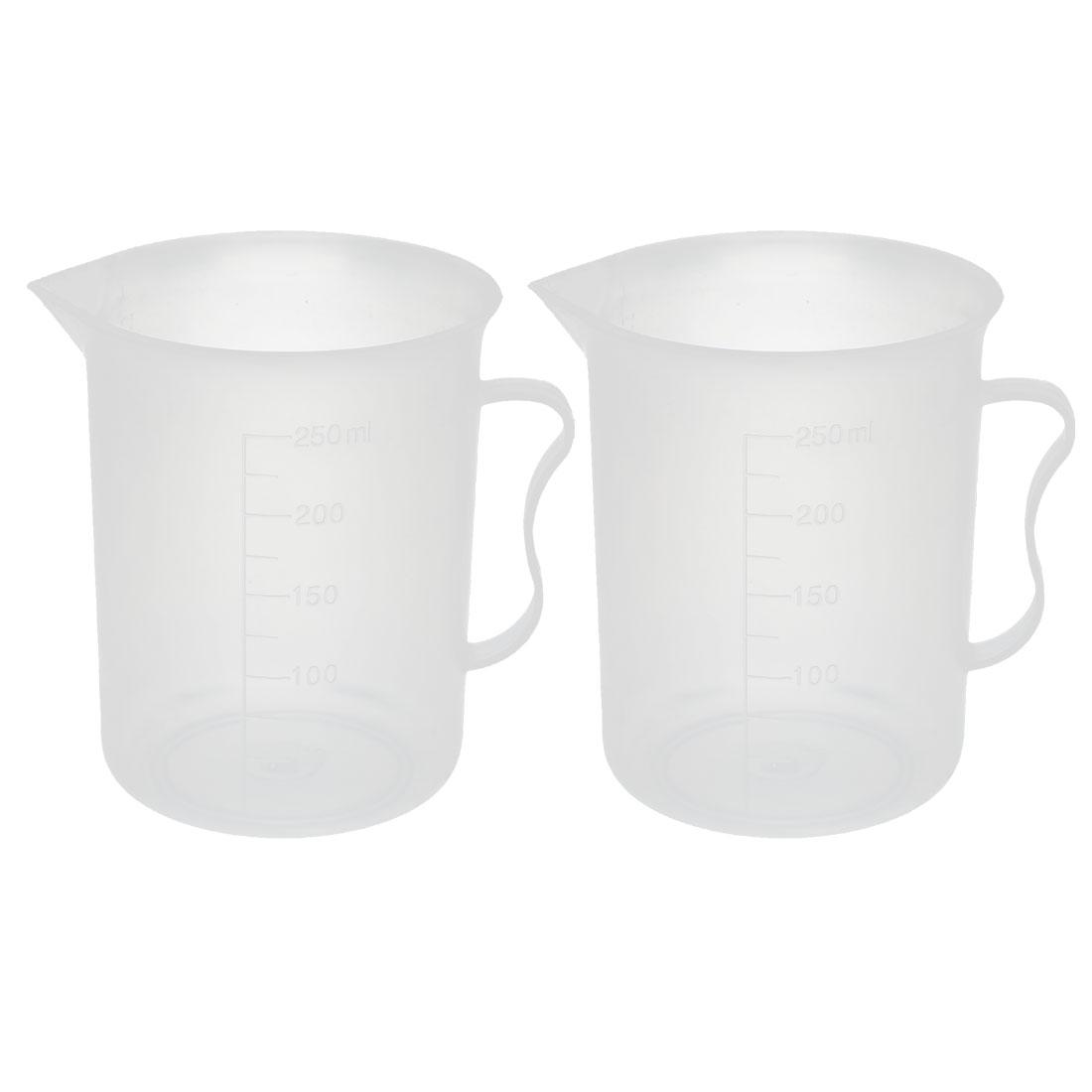 2Pcs Round 250ML Plastic Measurement Cup w Cup Handle Laboratory Equipment
