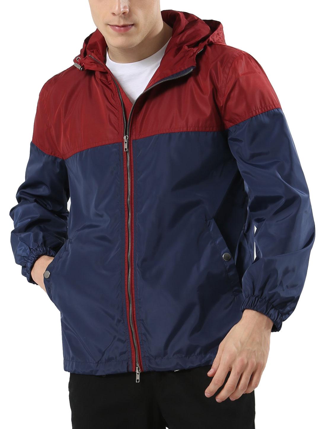 Men Zipper Front Color Block Checks Lining Windbreaker Hoodie Jacket Burgundy Blue L