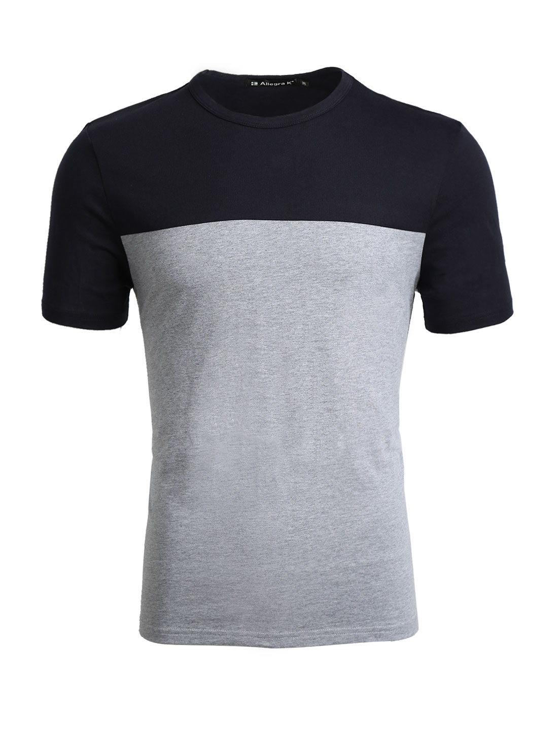 Men Crew Neck Color Block Short Sleeves Panelled Basic Tee Gray M