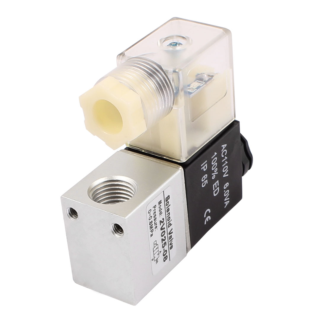 "2V025-08 AC 110V NC 2 Position 2 Way G1/4"" Thread Neutral Air Selector Solenoid Valve"