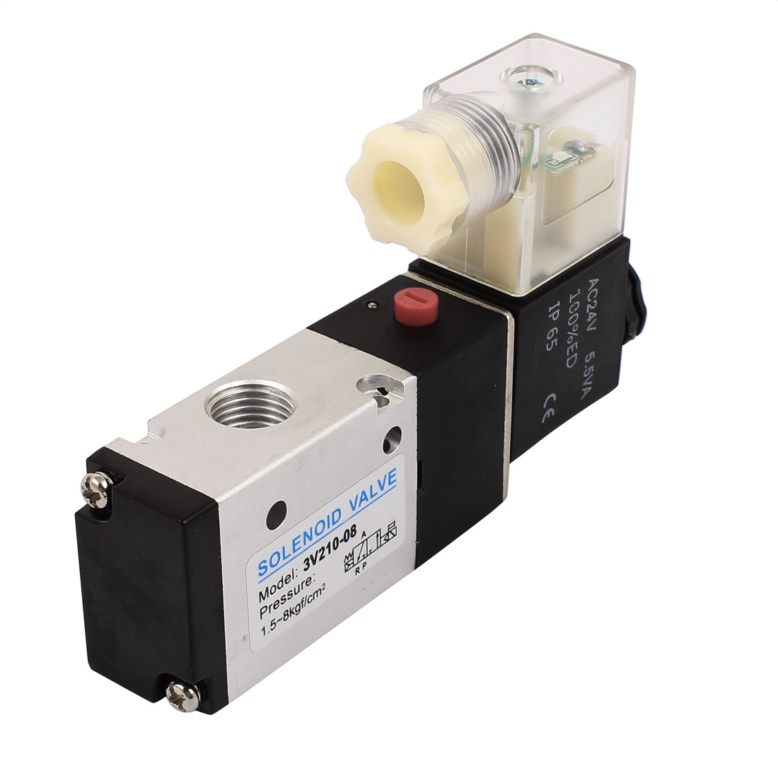 3V210-08-NC AC 24V NC 2 Position 3 Way PT1/4 Neutral Air Selector Solenoid Valve