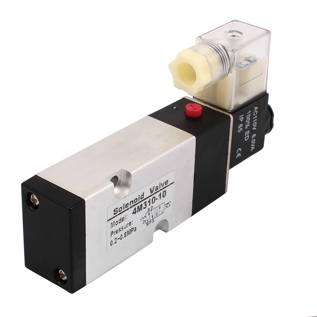 4M310-08 AC 110V 2 Position 5 Way G3/8 Neutral Air Selector Solenoid Valve