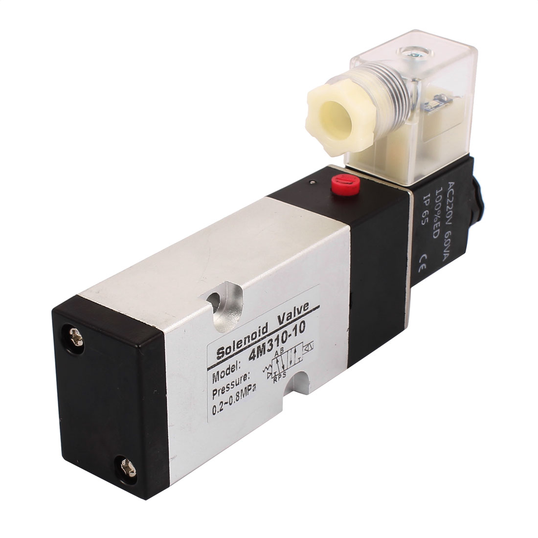 4M310-10 AC 220V 2 Position 5 Way G3/8 Neutral Air Selector Solenoid Valve