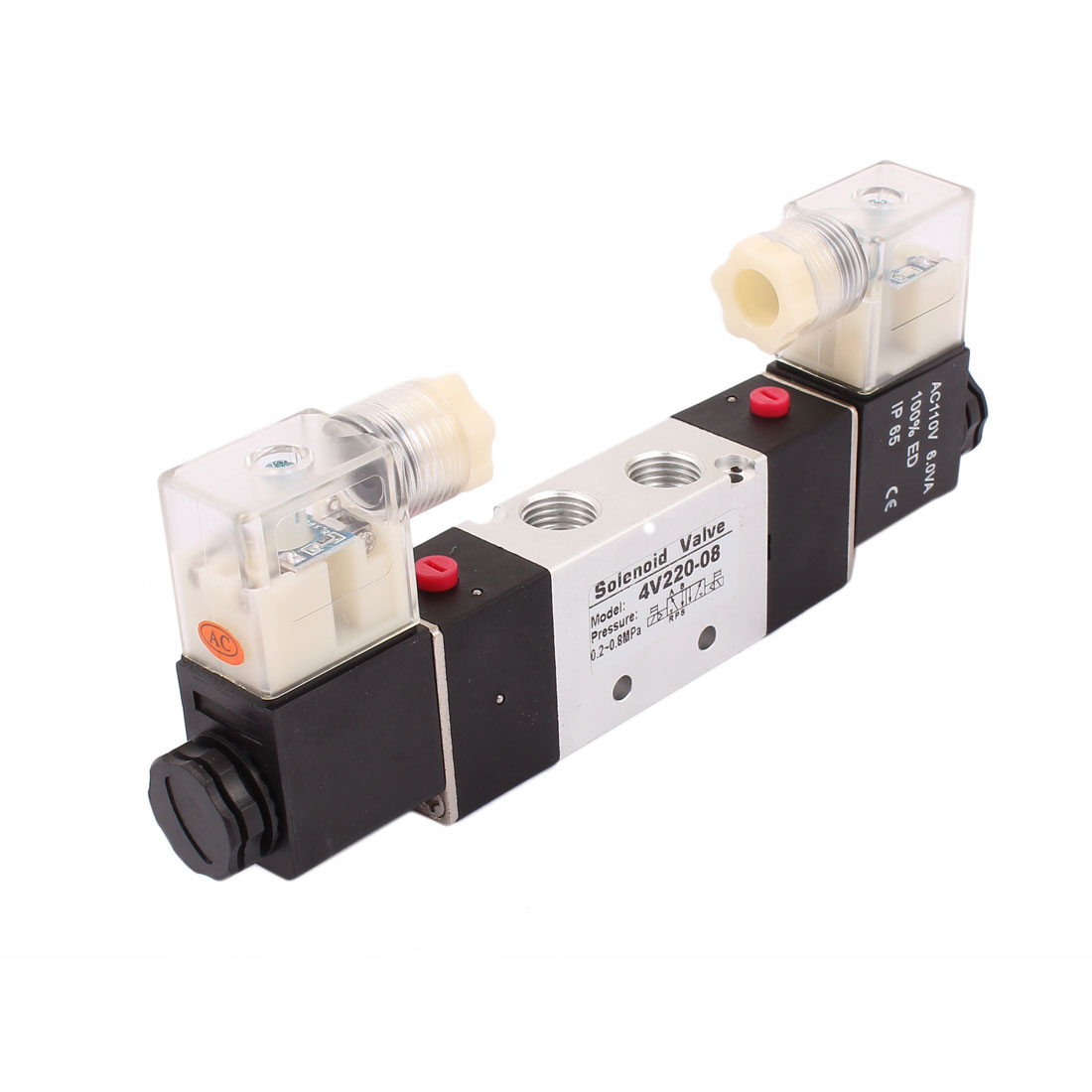 4V220-08 AC 110V 2 Position 5 Way G1/4 Neutral Air Selector Solenoid Valve