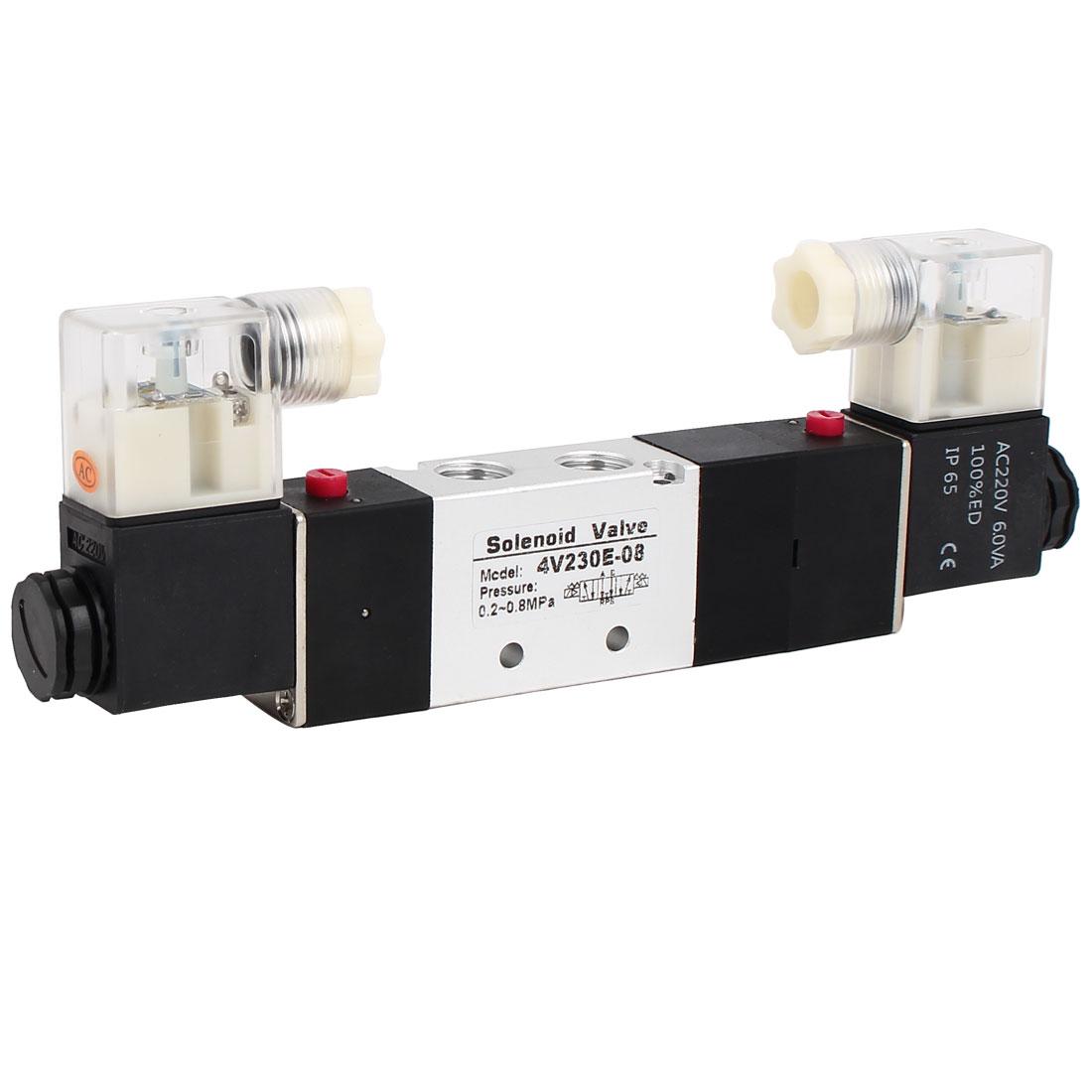 AC 220V 3 Position 5 Way Neutral Electric Solenoid Air Control Valve 4V230E-08