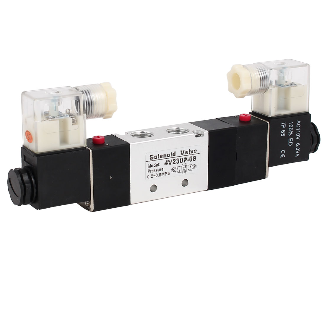 AC 110V 3 Position 5 Way Neutral Electric Solenoid Air Control Valve 4V230P-08