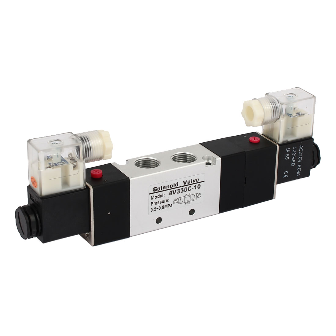 AC 220V 3 Position 5 Way Double Head Pneumatic Solenoid Air Valve 4V330C-10