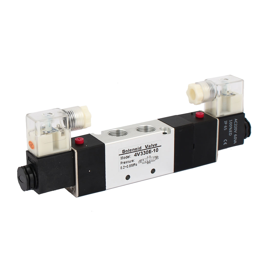 AC 220V 3 Position 5 Way Double Head Pneumatic Solenoid Air Valve 4V330E-10