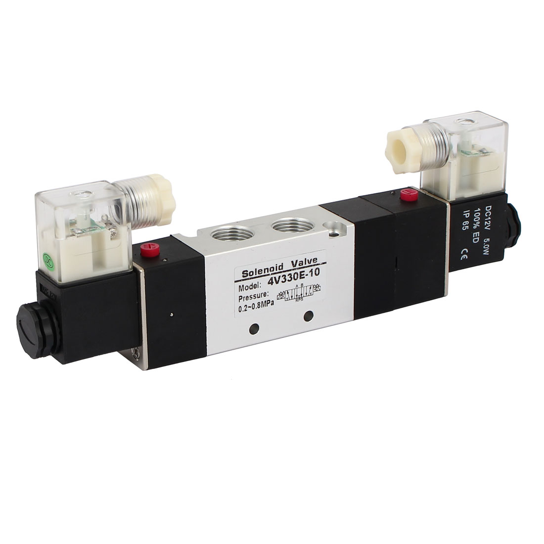 12VDC 3 Position 5 Way Double Head Pneumatic Solenoid Air Valve 4V330E-10