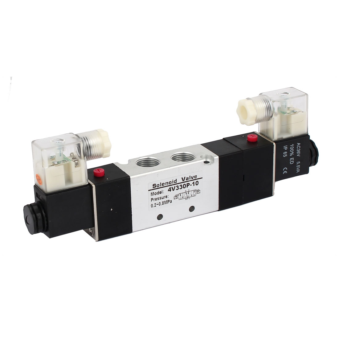 AC 36V 3 Position 5 Way Double Head Pneumatic Solenoid Air Valve 4V330P-10