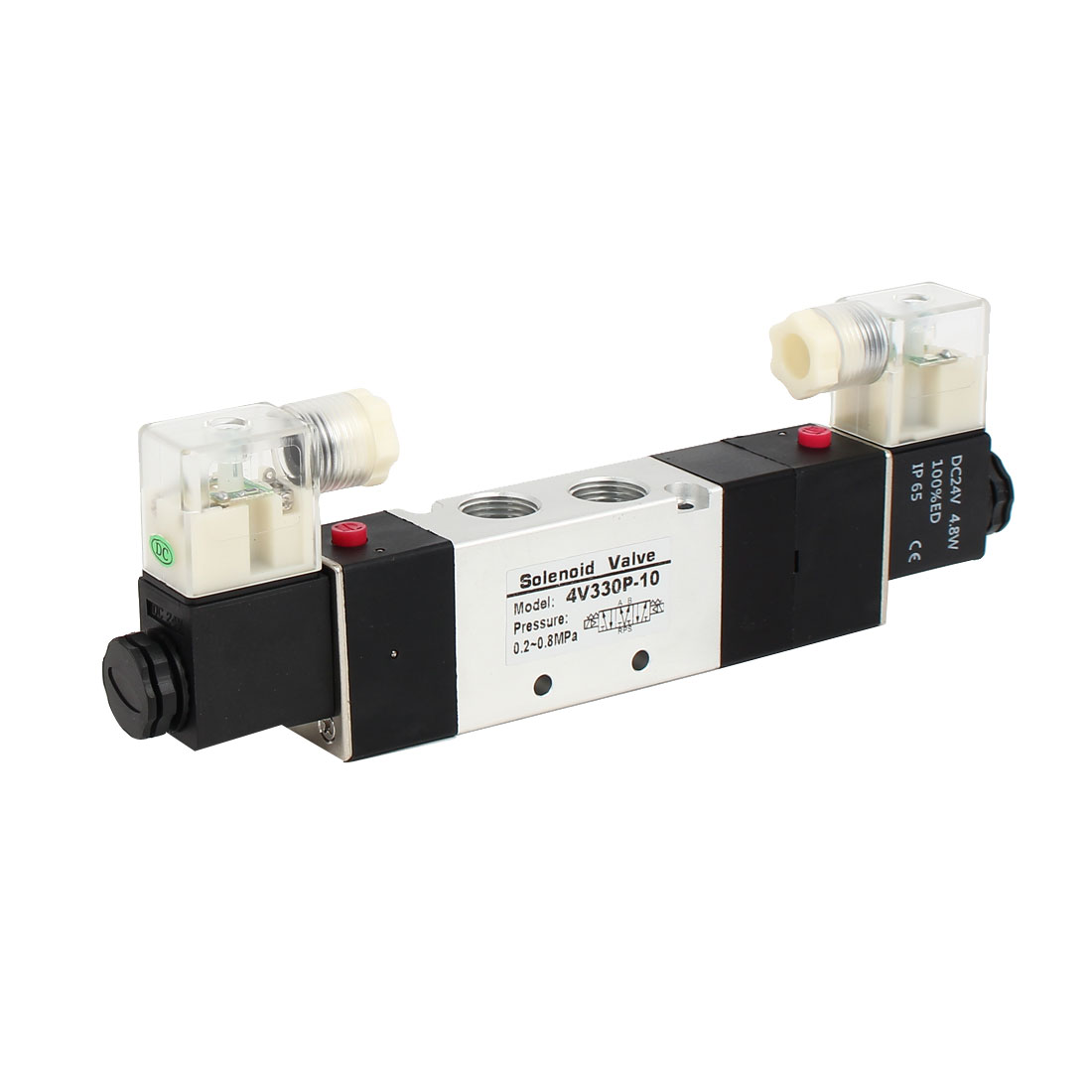 DC 24V 3 Position 5 Way Double Head Pneumatic Solenoid Air Valve 4V330P-10