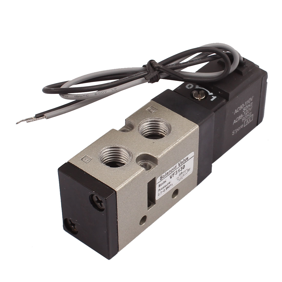AC 110V 2 Position 5 Way Dual Cables Pneumatic Solenoid Valve VF3130-3GB