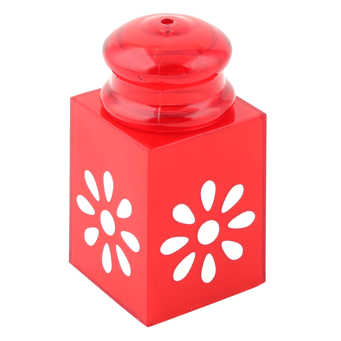 Home Plastic Can Signet Shaped Flower Pattern Toothpick Holder Storage Case Red
