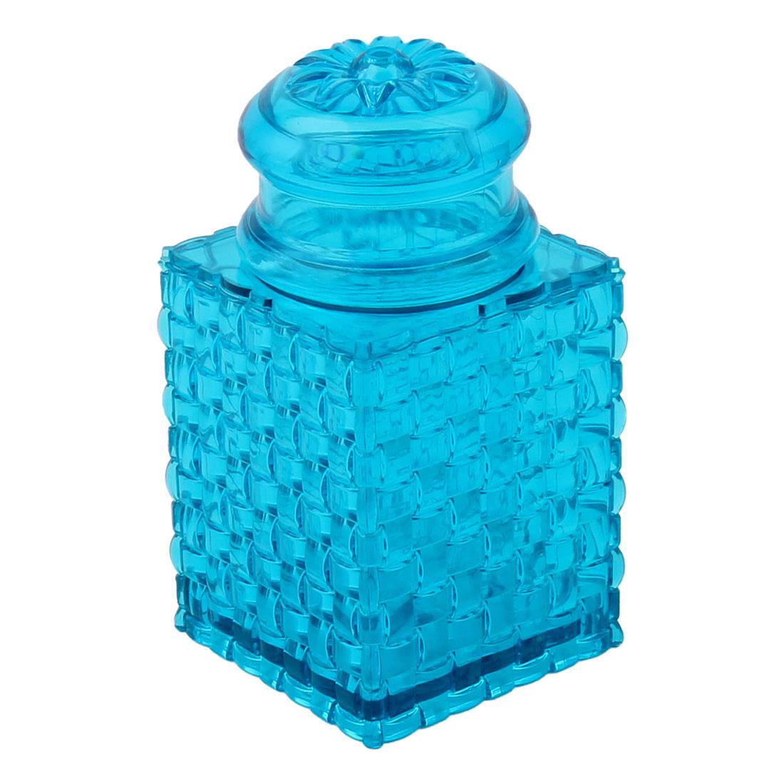 Home Table Plastic Braided Design Flower Pattern Hat Toothpick Holder Case Blue