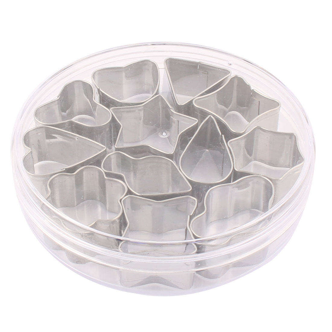 Home Kitchen Stainless Steel Geometric Shape Cake Cookie Cutter Mold 12 in 1