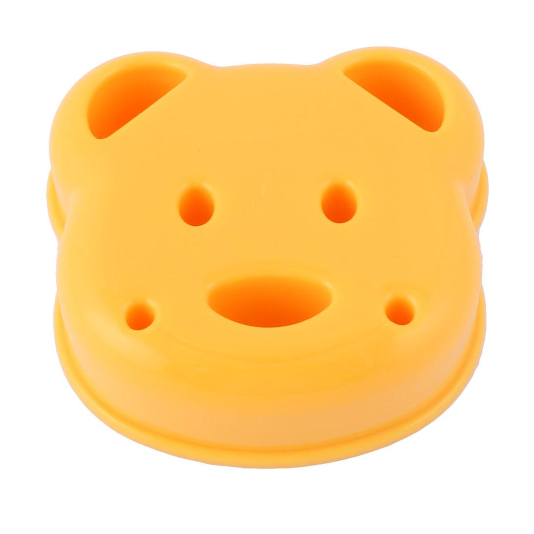 Home Kitchen Plastic Bear Head Shaped DIY Sandwich Bread Rice Ball Mould Orange