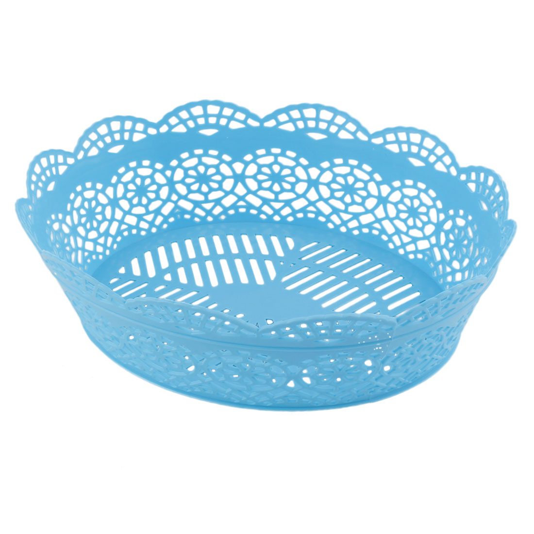 Household Plastic Hollow Out Flower Design Vegetable Fruit Storage Basket Container Blue