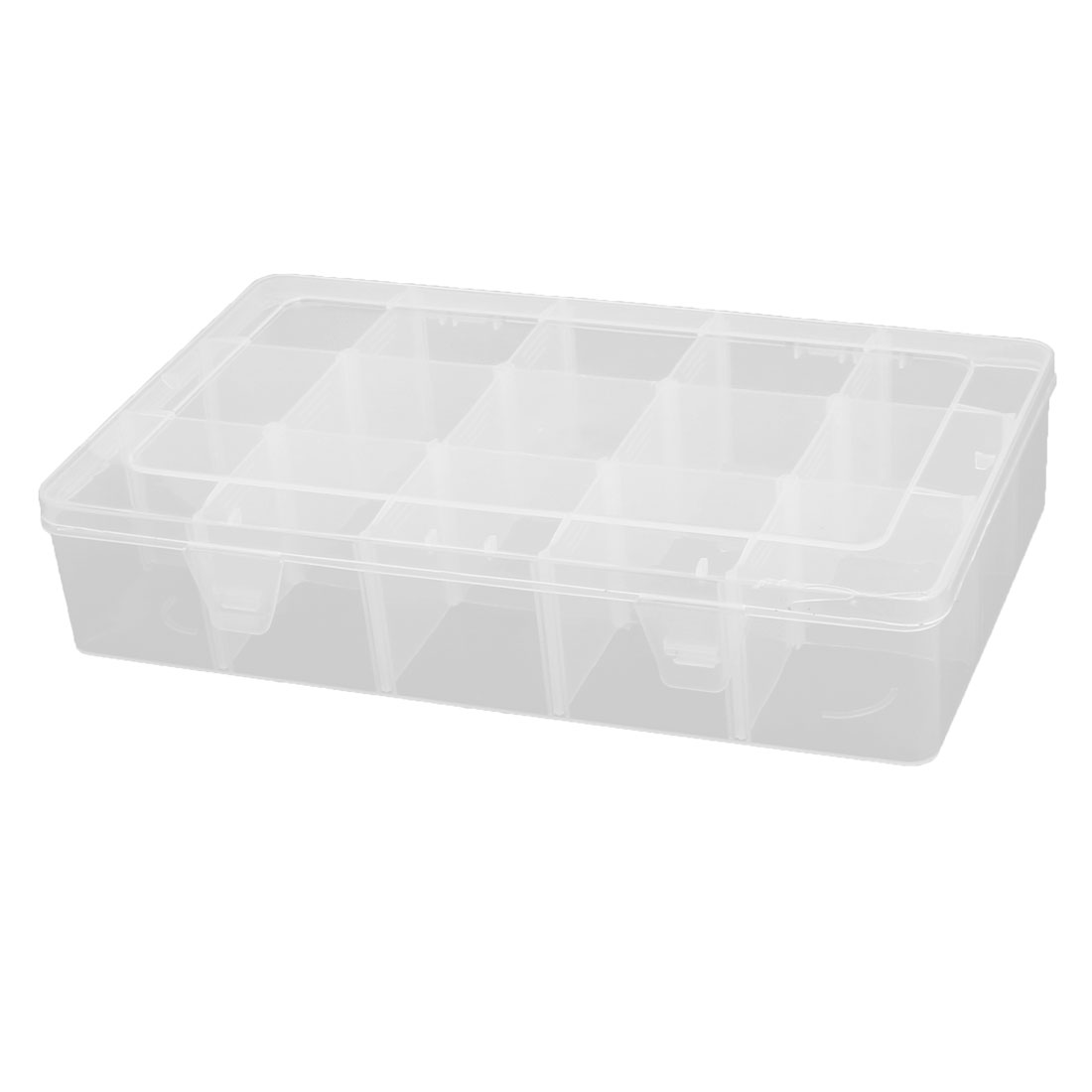 Household Plastic Detachable 15 Slots Sundries Storage Container Box Case Clear