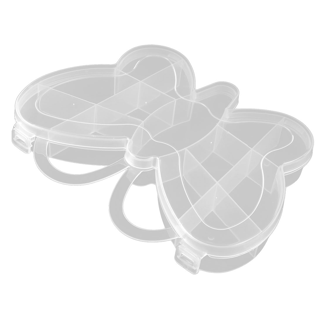 Household Plastic Butterfly Design 13 Compartments Container Storage Case Clear