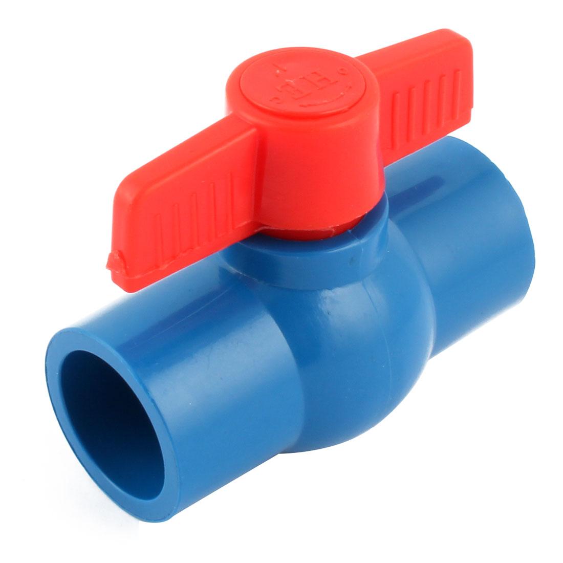 U-PVC No-thread Nonslip Full Port Ball Valve Blue Red 1 Inch Inner Dia