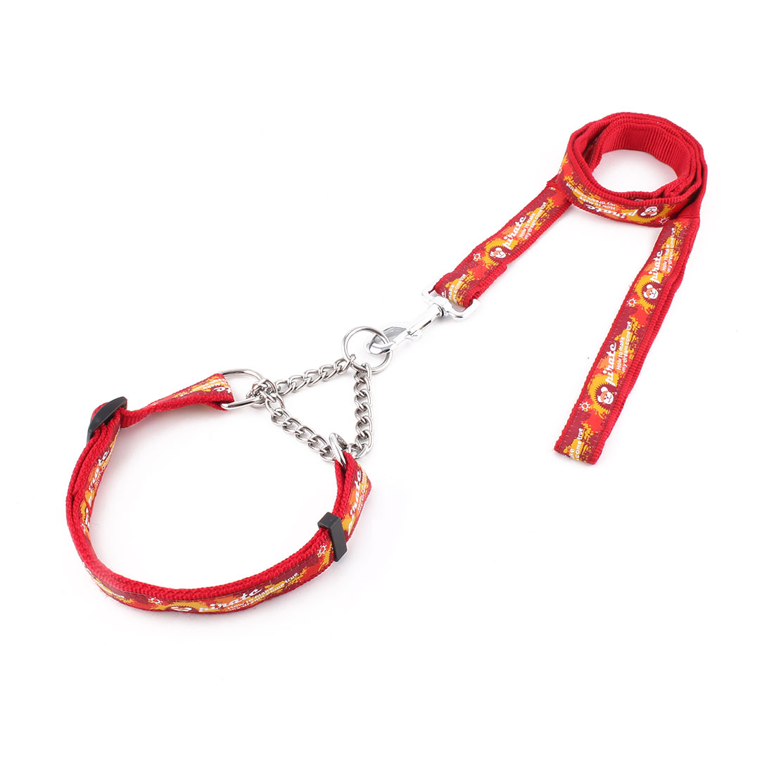 Pet Dog Nylon Pirate Pattern Neck Collar Training Lead Traction Rope Leash Red