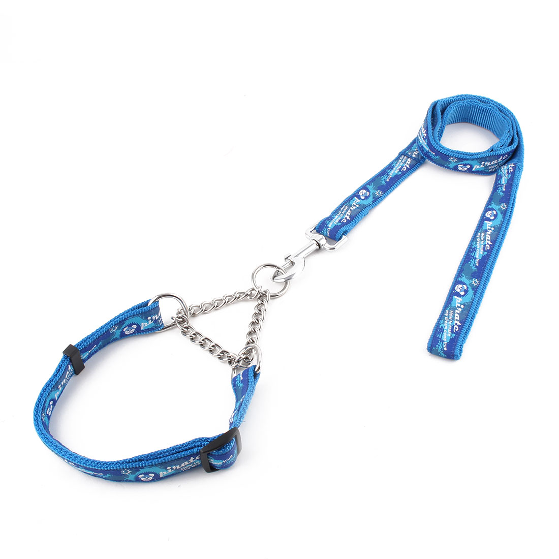 Pet Dog Nylon Pirate Printed Collar Training Lead Traction Rope Leash Strap Blue